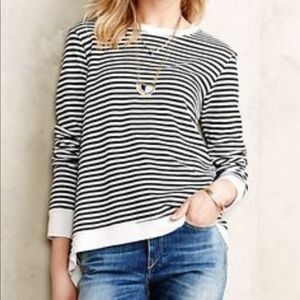 Anthropologie Black Striped Asymmetrical Sweater